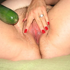 Ready To Fuck Her Hairy Pussy With Vegetable