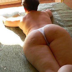 Hairy Wife Lays On Bed Showing Her Big Ass