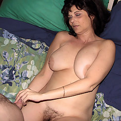 Sexy Brunette With Big Tits Sucks Cock