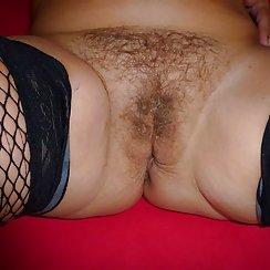 MILF Teases Us With Her Very Hairy Pussy And Stockings